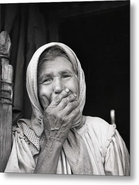 Old Woman From Maramures Romania Metal Print by Emanuel Tanjala