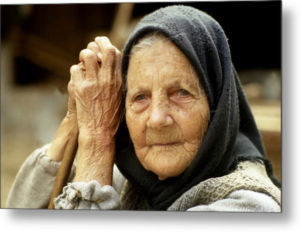 Old Woman In Vrancea Romania Metal Print
