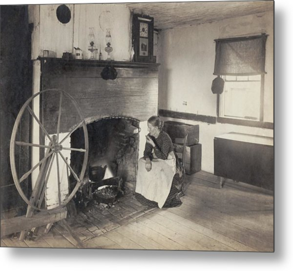 Olden Times. Middle Aged Woman Watching Metal Print by Everett