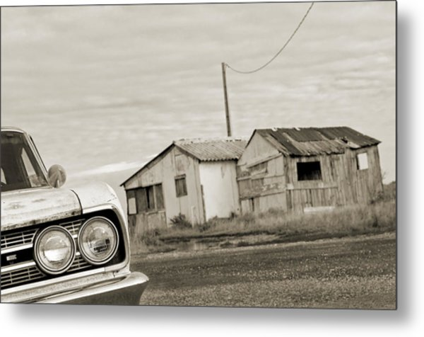 Olds Cutlass 63 Headlights And Huts Bw Metal Print by Philippe Taka