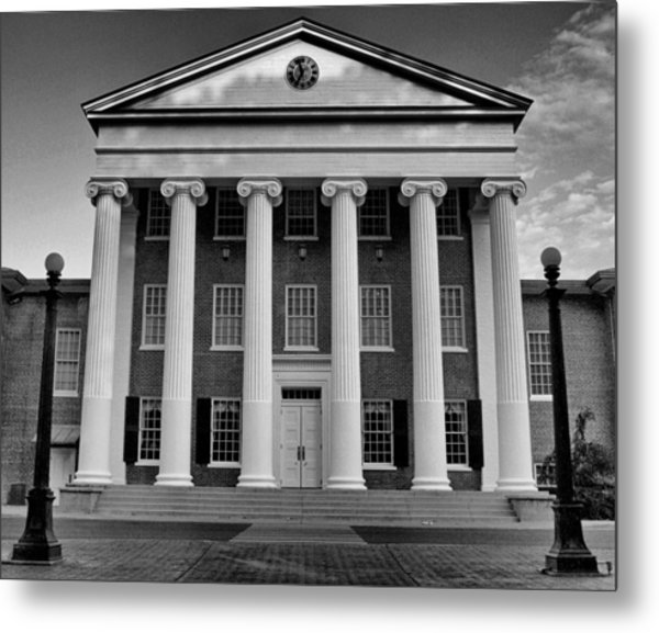 Ole Miss Lyceum Black And White Metal Print