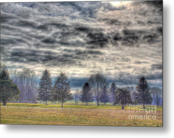 Ominous Skies At The Park Metal Print