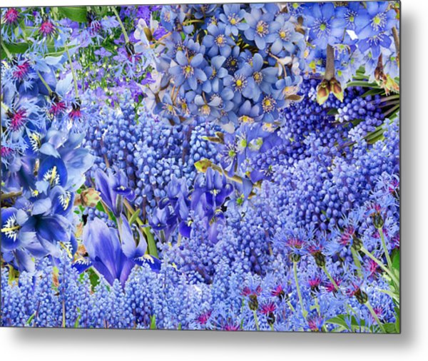Only Blue Flowers Metal Print