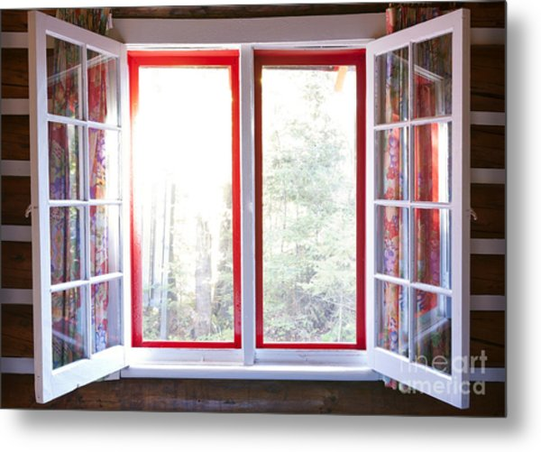 Open Window In Cottage Metal Print