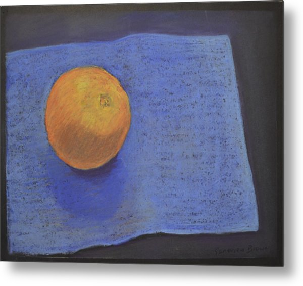 Orange On Blue Metal Print