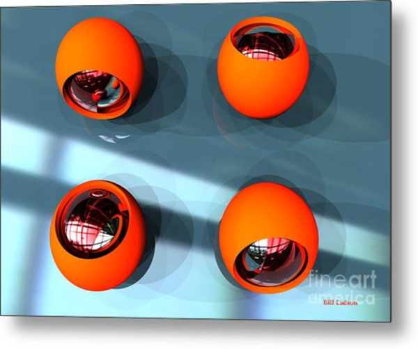 Orange Orbs Hdri Metal Print