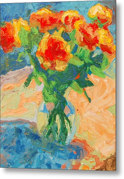 Orange Roses In A Glass Vase Metal Print