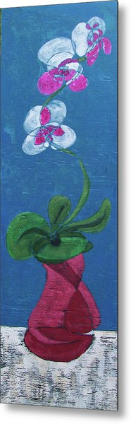 Orchid Inspired Floral On Blue 1 Metal Print