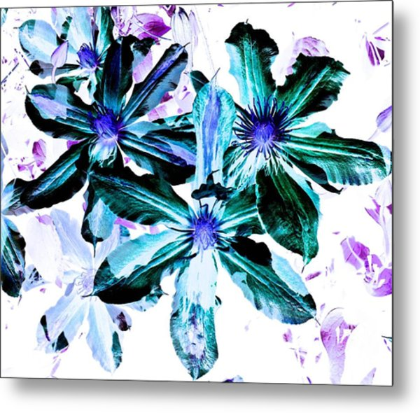Organic Techno Flowers Metal Print