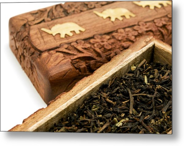 Ornate Box With Darjeeling Tea Metal Print