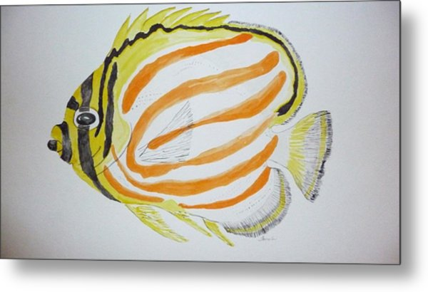 Ornate Butterfly Fish Metal Print by Tim Forrester