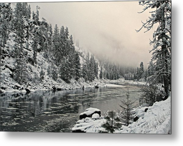 Orofino Snow Clearwater River Metal Print