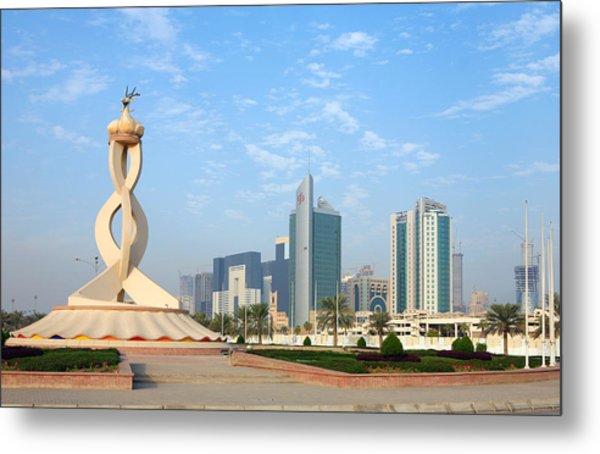 Oryx Roundabout In Qatar Metal Print by Paul Cowan