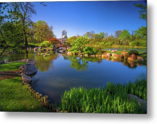 Osaka Garden Pond Metal Print