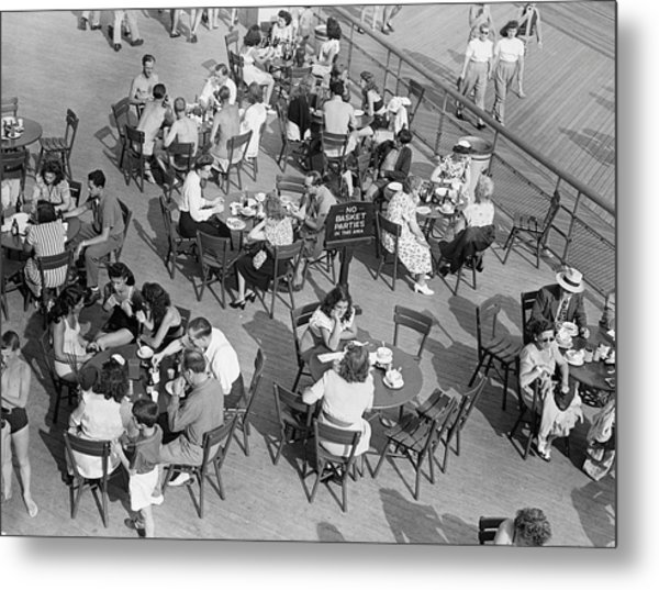 Outdoor Cafe Scene Metal Print by George Marks