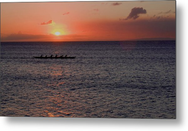 Outrigger Sunset Metal Print by Tony and Kristi Middleton