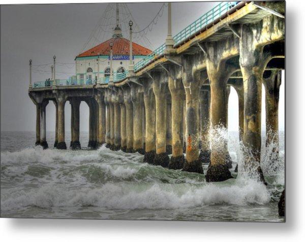 Overcast Manhattan Beach Pier Metal Print