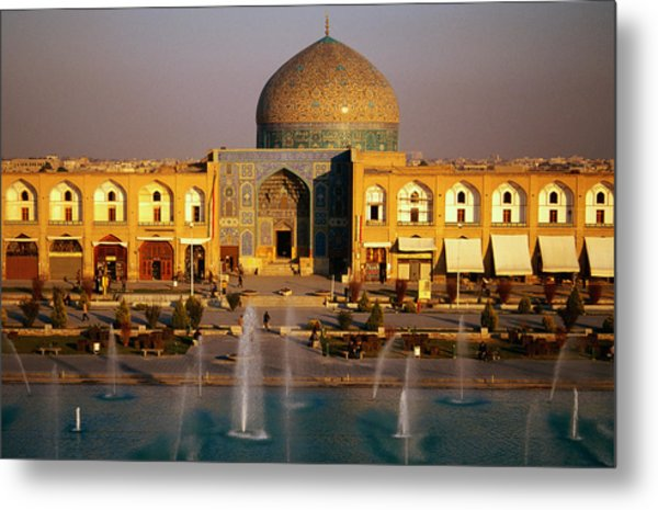 Overhead Of Fountains Outside Sheikh Lotfollah Mosque, Emam Khomeini Square, Esfahan, Iran Metal Print by Mark Daffey