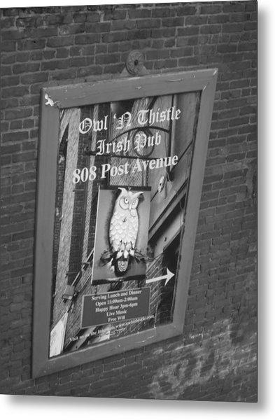 Owl And Thistle Irish Pub Metal Print