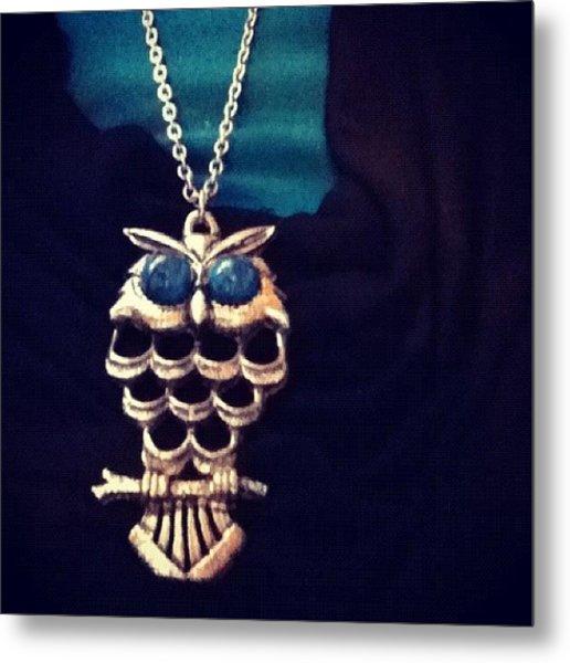 Owl Necklace, :) #owl #necklace Metal Print