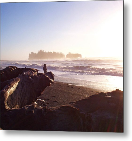 Pacific Ocean Sunsest Walk Metal Print by Christine Burdine