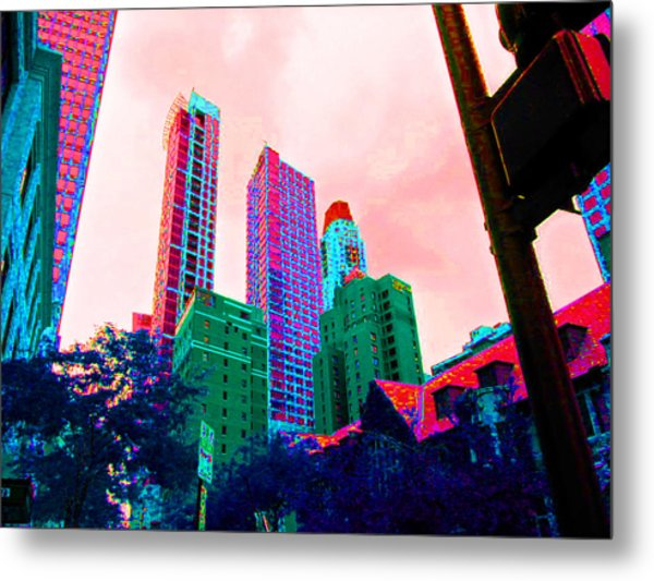 Paint The Town Red Metal Print by Val Oconnor