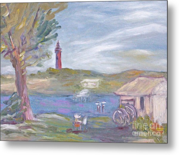 Painting Plein Air By The River Metal Print