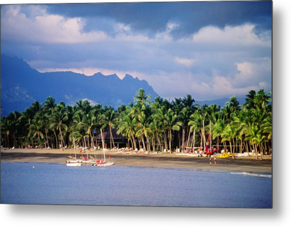 Palms And Beach, Sheraton Royale Hotel, Fiji Metal Print by Peter Hendrie