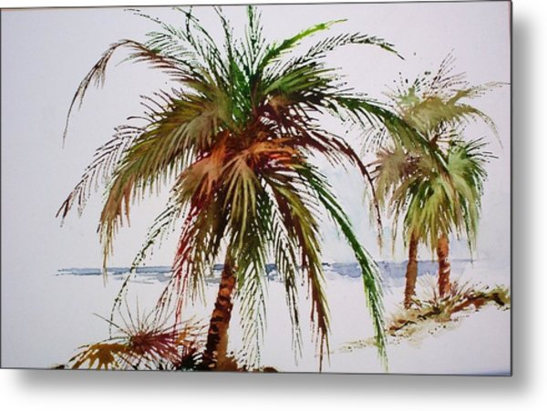 Palms On Beach Metal Print