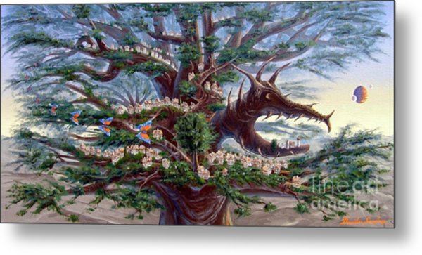 Panoramic Lorn Tree From Arboregal Metal Print by Dumitru Sandru