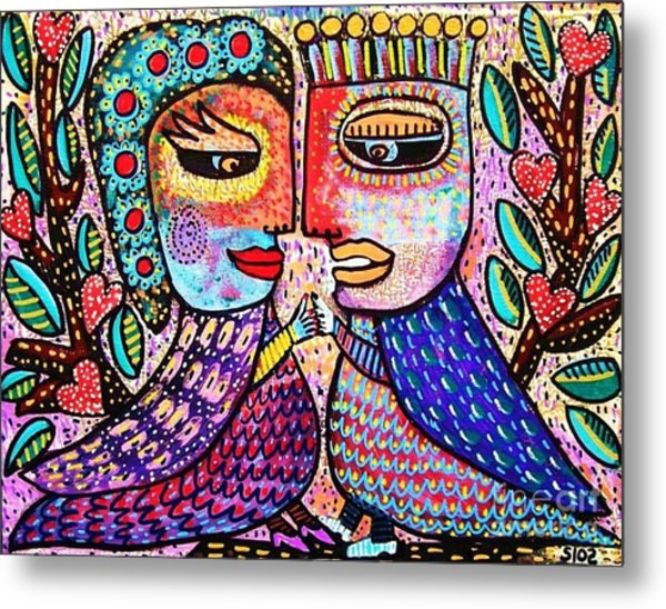 Paradise Lovebirds Metal Print