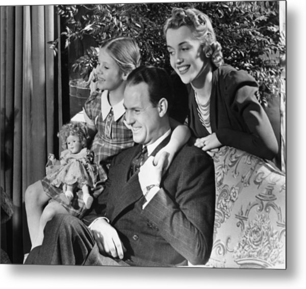 Parents With Daughter (6-7) In Living Room, (b&w) Metal Print by George Marks