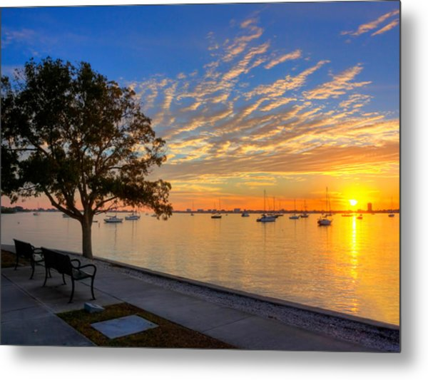 Park Bench Bay View Metal Print by Jenny Ellen Photography