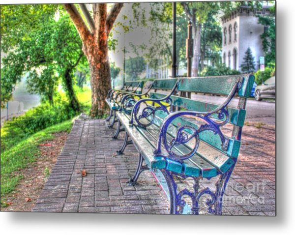 Park Bench On Riverside Drive Metal Print
