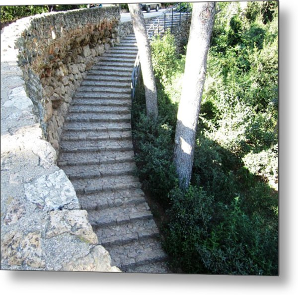 Park Guell Curved Steps Stairway In Barcelona Spain Metal Print by John Shiron
