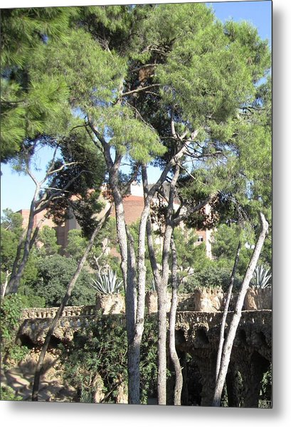 Park Guell Stone Pathway By Antoni Gaudi In Barcelona Spain Metal Print by John Shiron