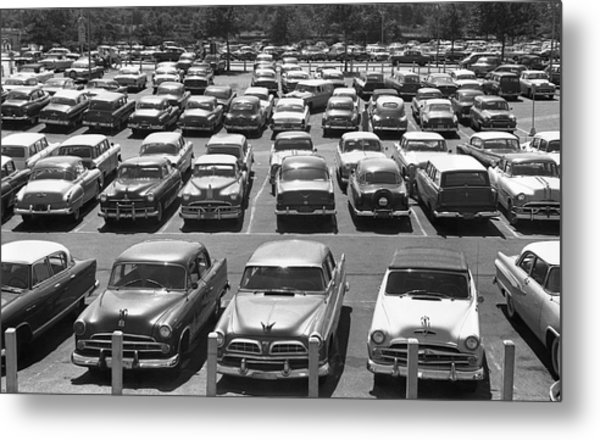 Parking Lot Full Of Cars Metal Print by George Marks