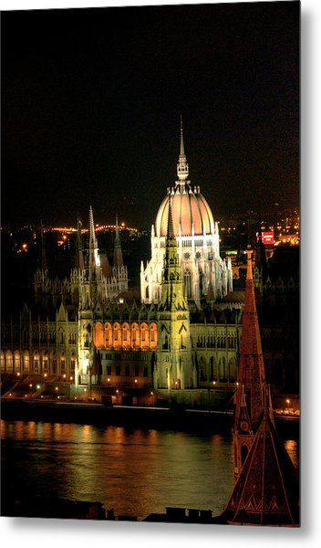 Parliament Building Lit Up At Night, Danube River, Metal Print by Roberto Herrero Garcia