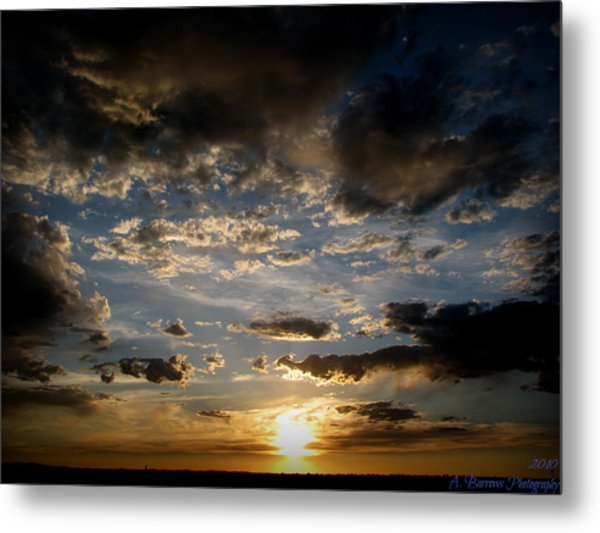 Partly Cloudy Skies At Sunset Metal Print by Aaron Burrows