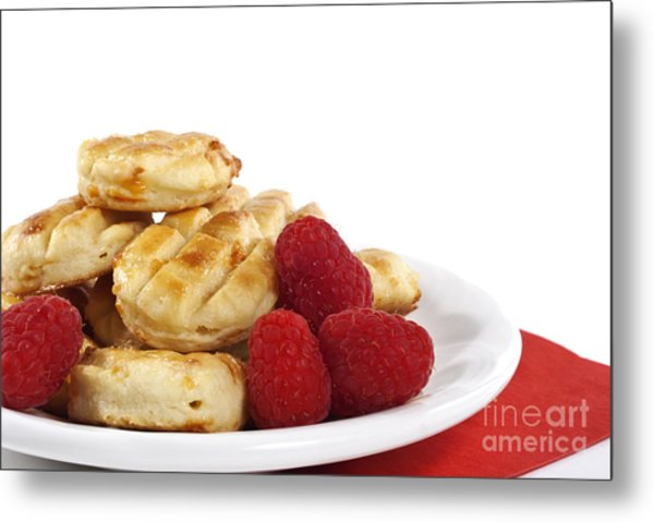 Pastries And Raspberries Metal Print by Blink Images