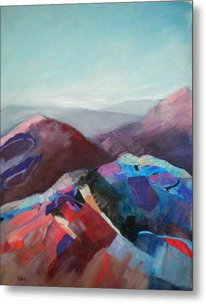 Patchwork Mountain Metal Print by Sally Bullers