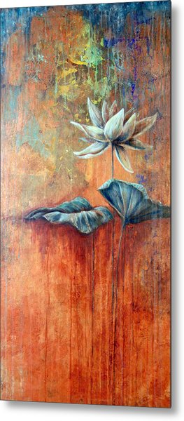 Patina Lotus Metal Print