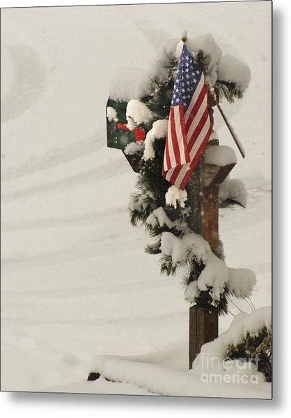 Patriotic Holiday Mailbox Metal Print