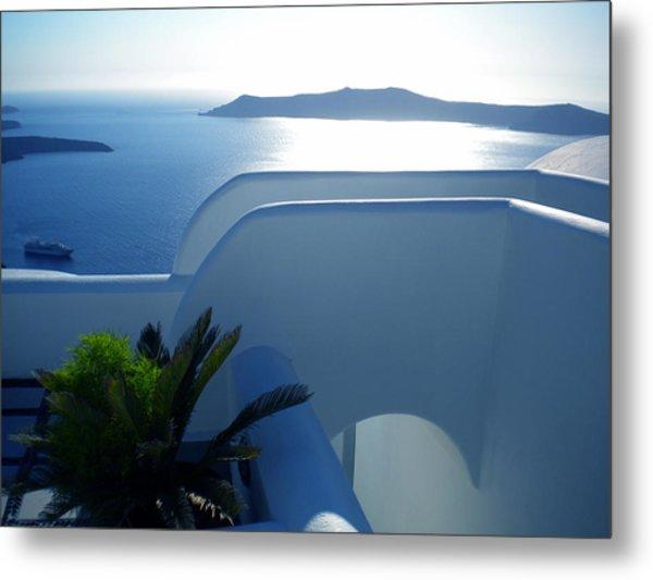 Peaceful Sunset Santorini Metal Print