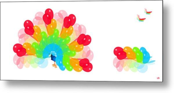 Peacock Balloon Metal Print by Victoria Regueira