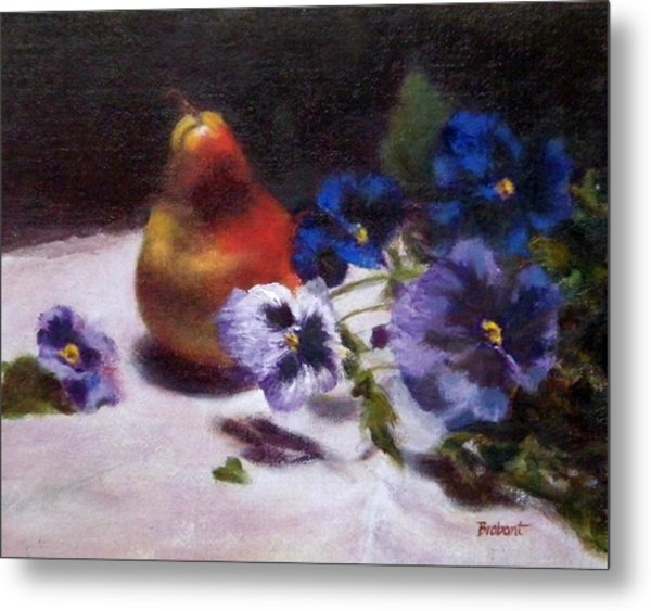 Pear With  Purple Pansies Metal Print by Jill Brabant