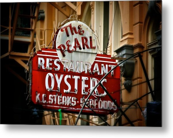 Pearl Restaurant Sign Metal Print