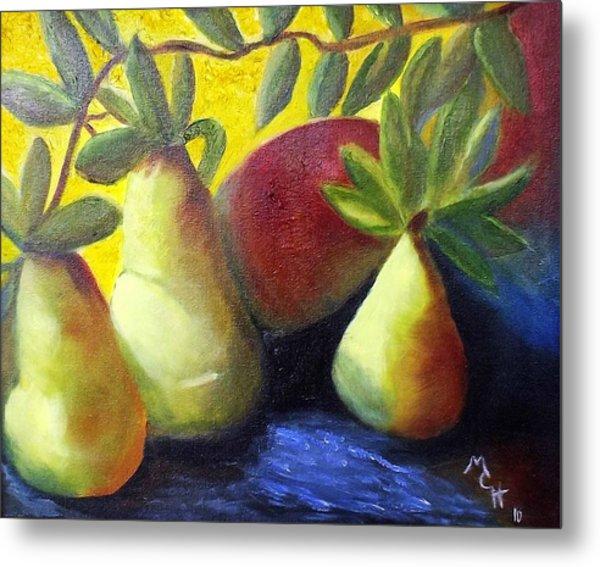 Pears In Sunshine Metal Print