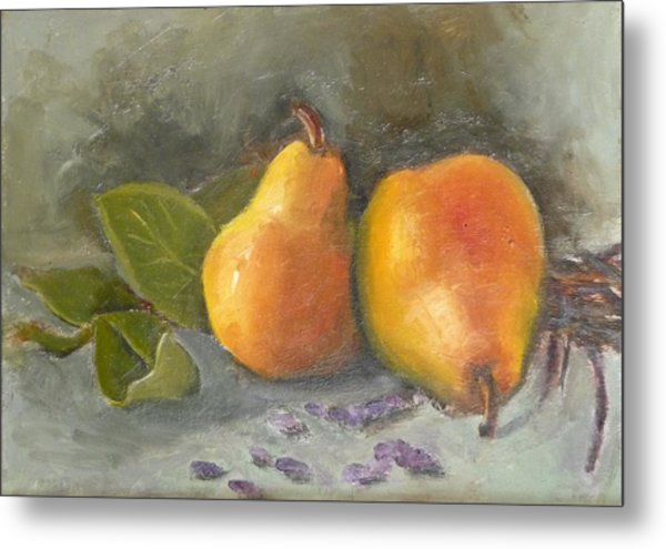 Pears Leaves And Petals Metal Print