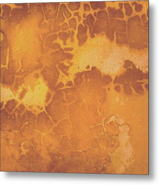 Peeling Ochre Wall Metal Print